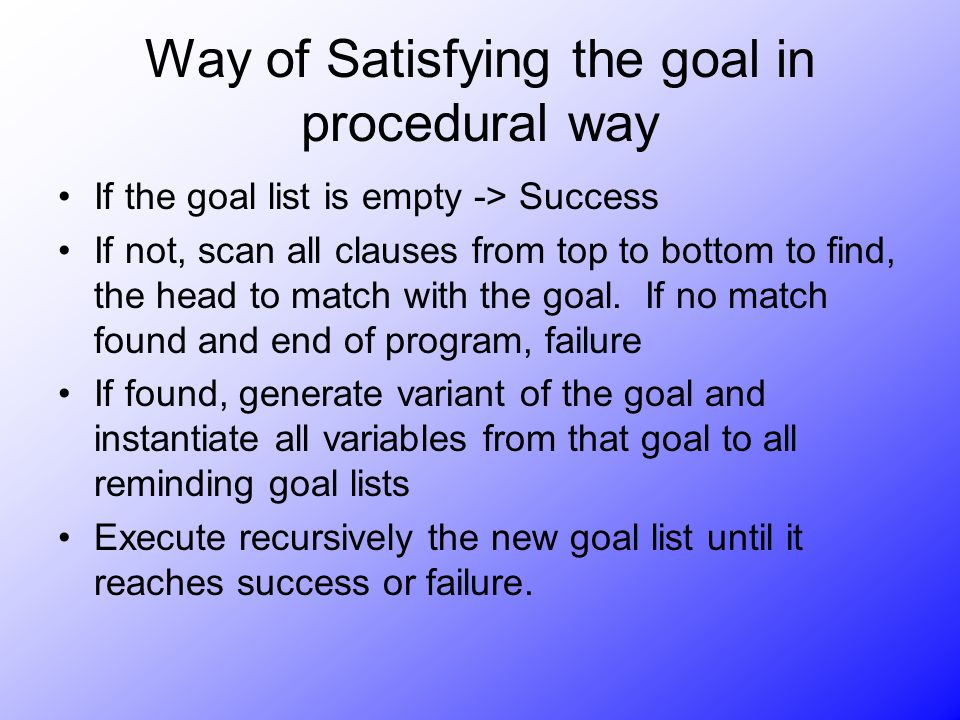Way of Satisfying the goal in procedural way If the goal list is empty -> Success If not, scan all clauses from top to bottom to find, the head to mat