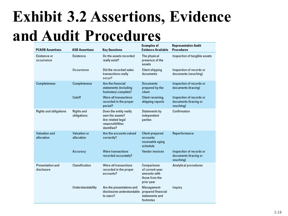 Exhibit 3.2 Assertions, Evidence and Audit Procedures 3-19
