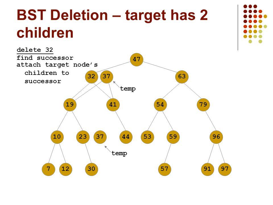 BST Deletion – target has 2 children 476332194110237125479374453599630579197 delete 32 37 temp find successor attach target node's children to success