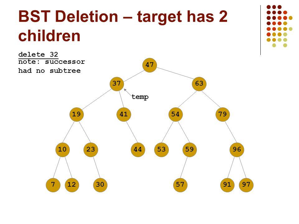 BST Deletion – target has 2 children 47631941102371254794453599630579197 delete 32 37 temp note: successor had no subtree
