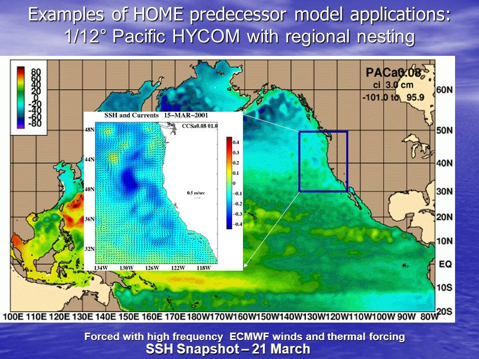 Examples of HOME predecessor model applications: 1/12° Pacific HYCOM with regional nesting Forced with high frequency ECMWF winds and thermal forcing SSH Snapshot – 21 March