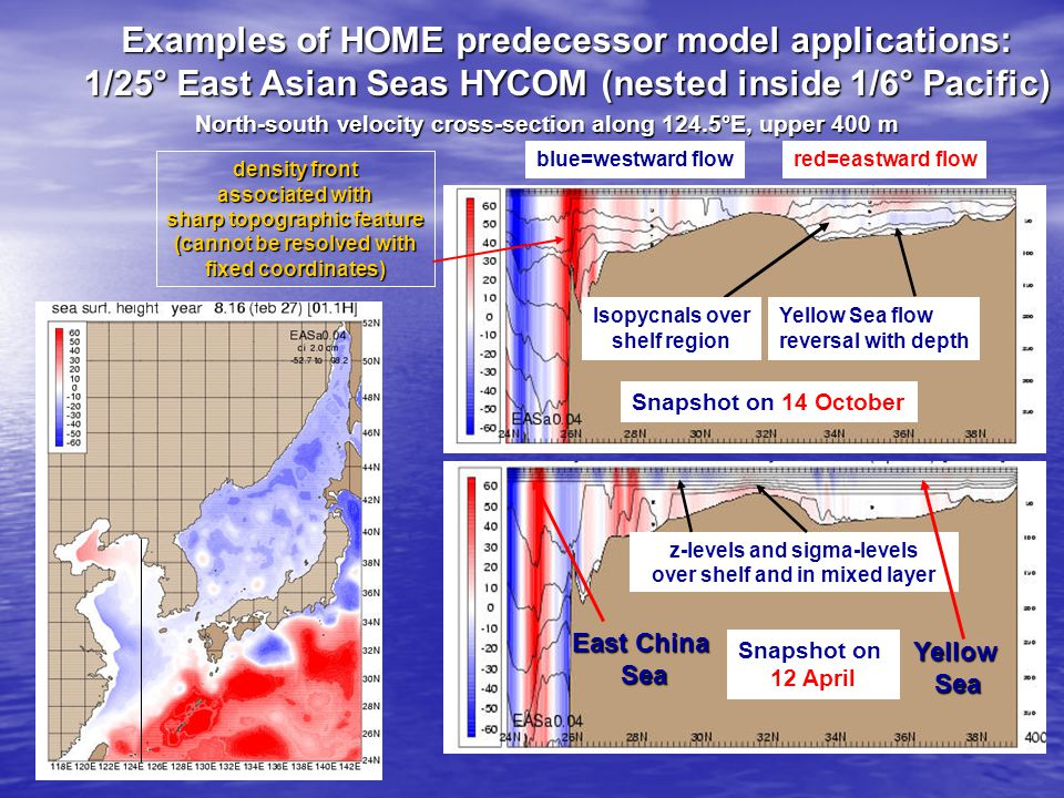 Examples of HOME predecessor model applications: 1/25° East Asian Seas HYCOM (nested inside 1/6° Pacific) North-south velocity cross-section along 124.5°E, upper 400 m Snapshot on 14 October density front associated with sharp topographic feature (cannot be resolved with fixed coordinates) red=eastward flowblue=westward flow East China Sea Yellow Sea flow reversal with depth Isopycnals over shelf region z-levels and sigma-levels over shelf and in mixed layer Snapshot on 12 April YellowSea