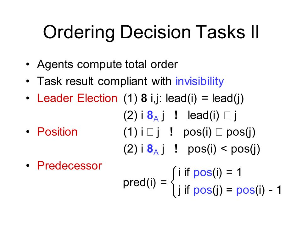 Ordering Decision Tasks II Agents compute total order Task result compliant with invisibility Leader Election (1) 8 i,j: lead(i) = lead(j) (2) i 8 A j .