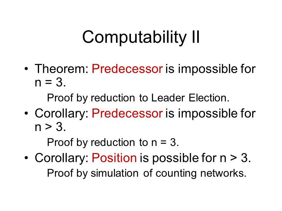 Computability II Theorem: Predecessor is impossible for n = 3.