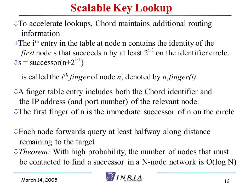 March 14, 2005 12 ò To accelerate lookups, Chord maintains additional routing information ò The i th entry in the table at node n contains the identity of the first node s that succeeds n by at least 2 i-1 on the identifier circle.