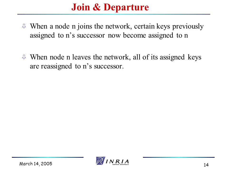 March 14, 2005 14 ò When a node n joins the network, certain keys previously assigned to n's successor now become assigned to n ò When node n leaves the network, all of its assigned keys are reassigned to n's successor.
