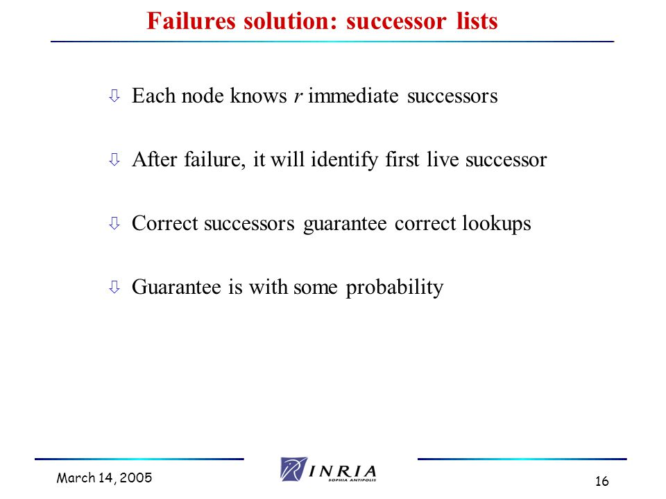 March 14, 2005 16 Failures solution: successor lists ò Each node knows r immediate successors ò After failure, it will identify first live successor ò Correct successors guarantee correct lookups ò Guarantee is with some probability