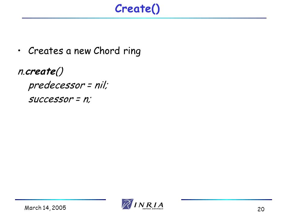 March 14, 2005 20 Creates a new Chord ring n.create() predecessor = nil; successor = n; Create()