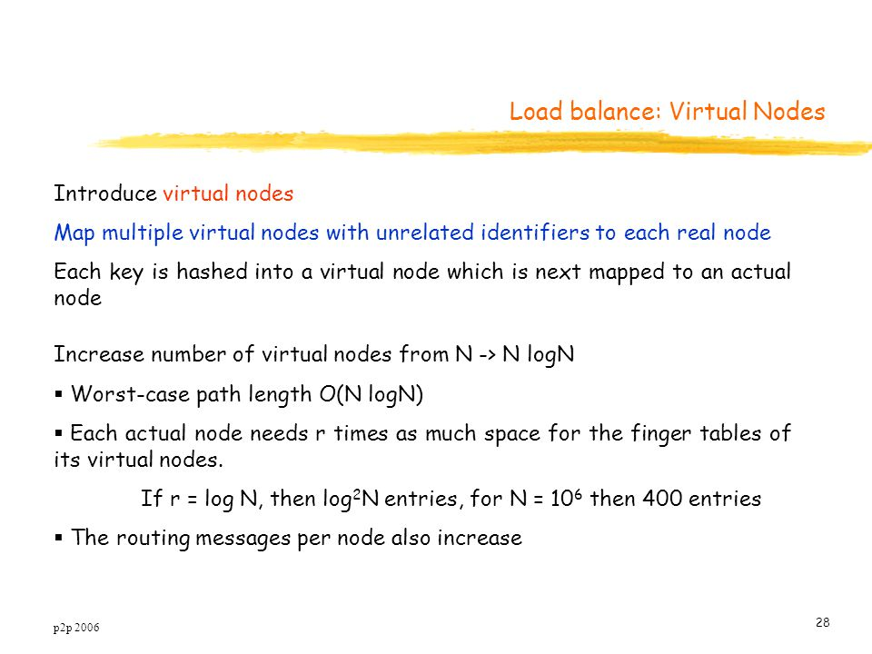 p2p 2006 28 Introduce virtual nodes Map multiple virtual nodes with unrelated identifiers to each real node Each key is hashed into a virtual node which is next mapped to an actual node Increase number of virtual nodes from N -> N logN  Worst-case path length O(N logN)  Each actual node needs r times as much space for the finger tables of its virtual nodes.