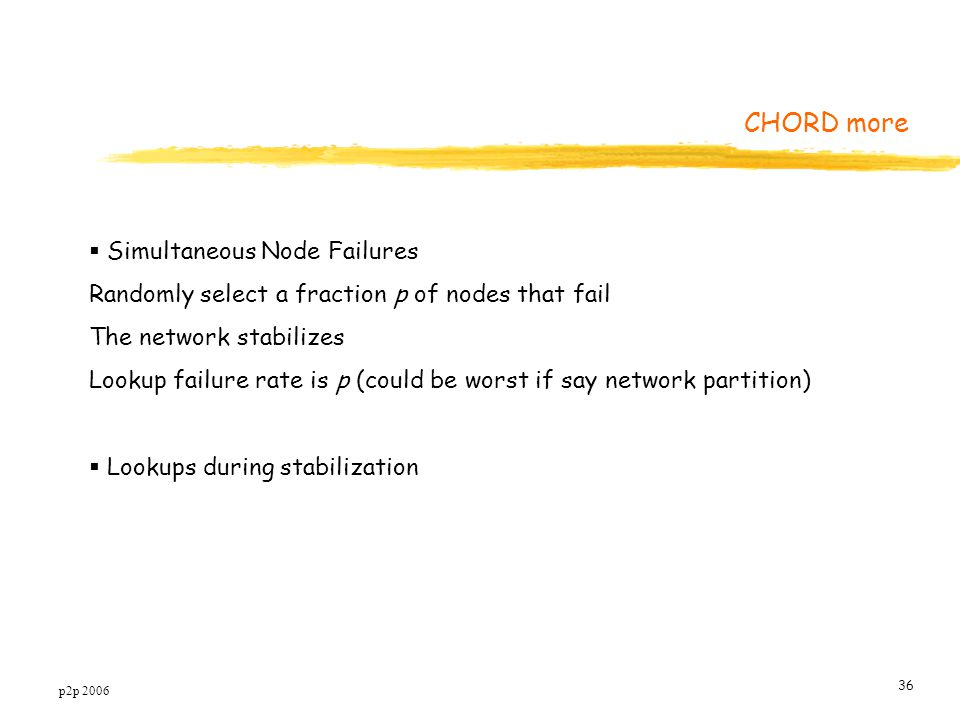 p2p 2006 36  Simultaneous Node Failures Randomly select a fraction p of nodes that fail The network stabilizes Lookup failure rate is p (could be worst if say network partition)  Lookups during stabilization CHORD more