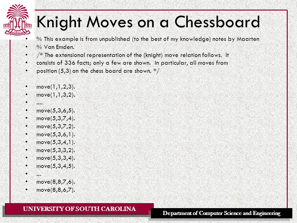 UNIVERSITY OF SOUTH CAROLINA Department of Computer Science and Engineering Knight Moves on a Chessboard % This example is from unpublished (to the best of my knowledge) notes by Maarten % Van Emden.