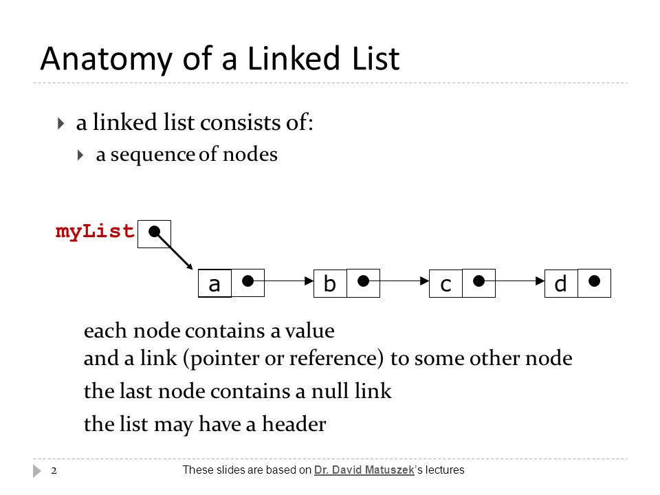 2 Anatomy of a Linked List  a linked list consists of:  a sequence of nodes abcd each node contains a value and a link (pointer or reference) to som