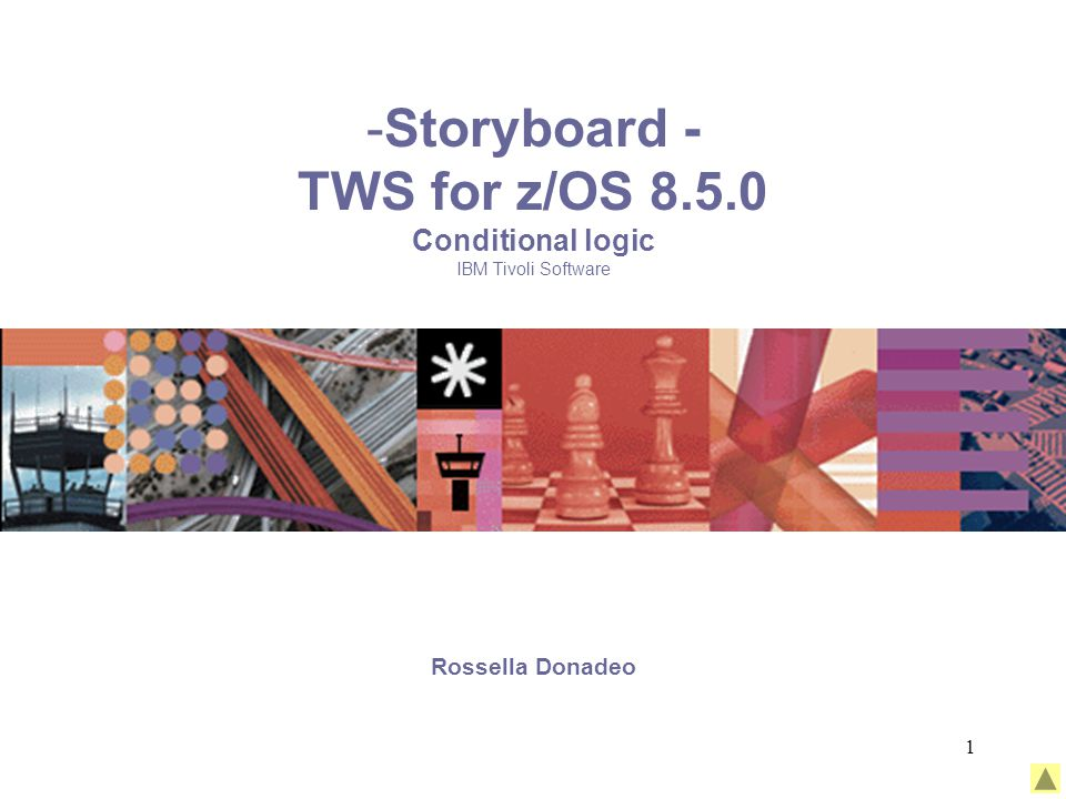 1 -Storyboard - TWS for z/OS 8.5.0 Conditional logic IBM Tivoli Software Rossella Donadeo