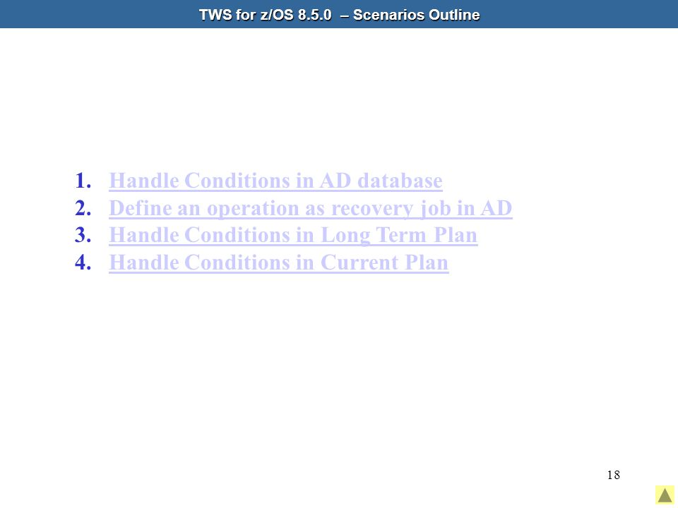18 TWS for z/OS 8.5.0 – Scenarios Outline 1.Handle Conditions in AD databaseHandle Conditions in AD database 2.Define an operation as recovery job in ADDefine an operation as recovery job in AD 3.Handle Conditions in Long Term PlanHandle Conditions in Long Term Plan 4.Handle Conditions in Current PlanHandle Conditions in Current Plan