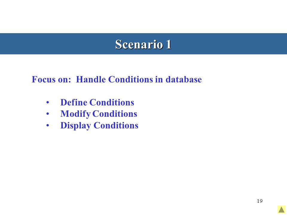 19 Scenario 1 Focus on: Handle Conditions in database Define Conditions Modify Conditions Display Conditions