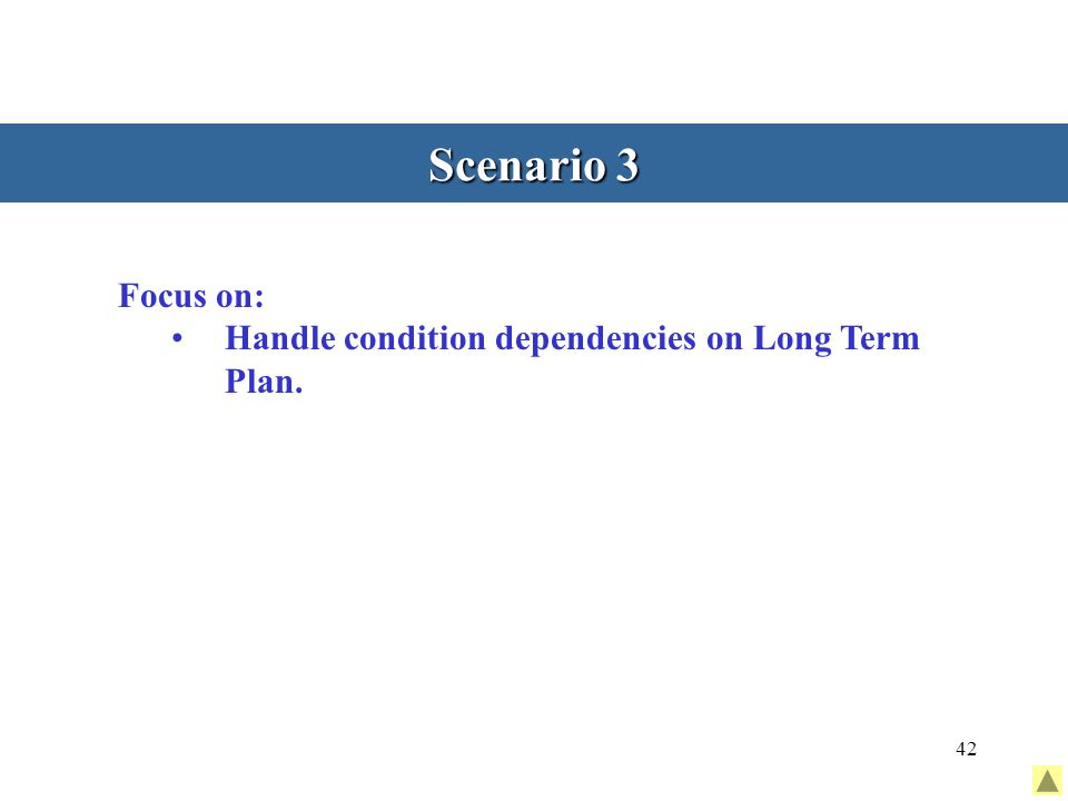 42 Scenario 3 Focus on: Handle condition dependencies on Long Term Plan.