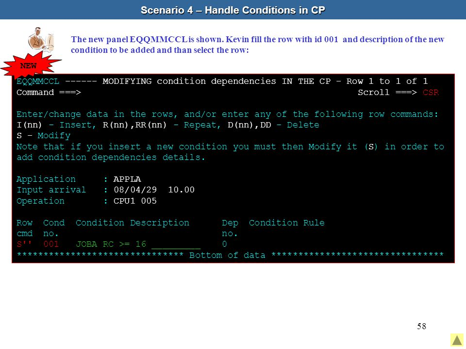 58 Scenario 4 – Handle Conditions in CP The new panel EQQMMCCL is shown.