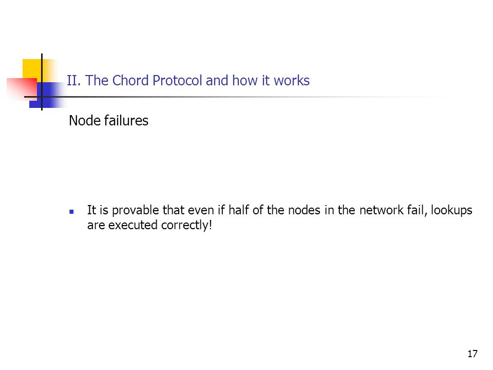17 II. The Chord Protocol and how it works Node failures It is provable that even if half of the nodes in the network fail, lookups are executed corre
