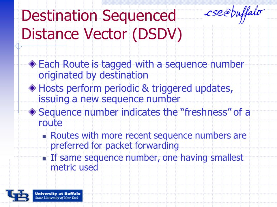 Destination Sequenced Distance Vector (DSDV) Each Route is tagged with a sequence number originated by destination Hosts perform periodic & triggered updates, issuing a new sequence number Sequence number indicates the freshness of a route Routes with more recent sequence numbers are preferred for packet forwarding If same sequence number, one having smallest metric used