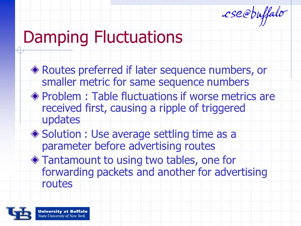 Damping Fluctuations Routes preferred if later sequence numbers, or smaller metric for same sequence numbers Problem : Table fluctuations if worse metrics are received first, causing a ripple of triggered updates Solution : Use average settling time as a parameter before advertising routes Tantamount to using two tables, one for forwarding packets and another for advertising routes