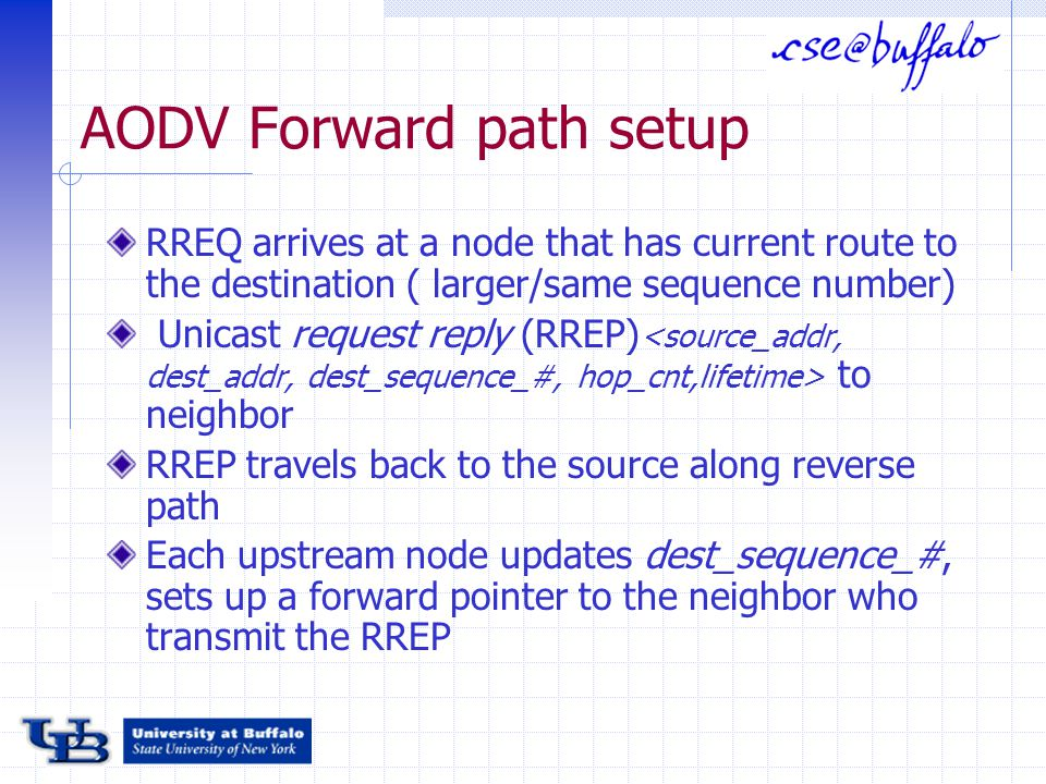 AODV Forward path setup RREQ arrives at a node that has current route to the destination ( larger/same sequence number) Unicast request reply (RREP) to neighbor RREP travels back to the source along reverse path Each upstream node updates dest_sequence_#, sets up a forward pointer to the neighbor who transmit the RREP