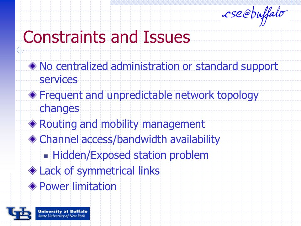 Constraints and Issues No centralized administration or standard support services Frequent and unpredictable network topology changes Routing and mobility management Channel access/bandwidth availability Hidden/Exposed station problem Lack of symmetrical links Power limitation