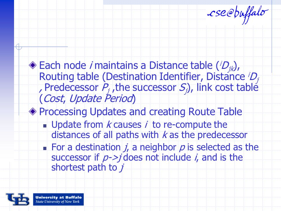 Each node i maintains a Distance table ( i D jk ), Routing table (Destination Identifier, Distance i D j, Predecessor P j,the successor S j ), link cost table (Cost, Update Period) Processing Updates and creating Route Table Update from k causes i to re-compute the distances of all paths with k as the predecessor For a destination j, a neighbor p is selected as the successor if p->j does not include i, and is the shortest path to j