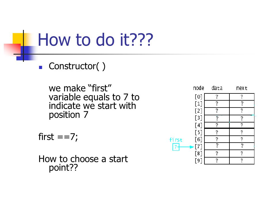 """How to do it??? Constructor( ) we make """"first"""" variable equals to 7 to indicate we start with position 7 first ==7; How to choose a start point??"""