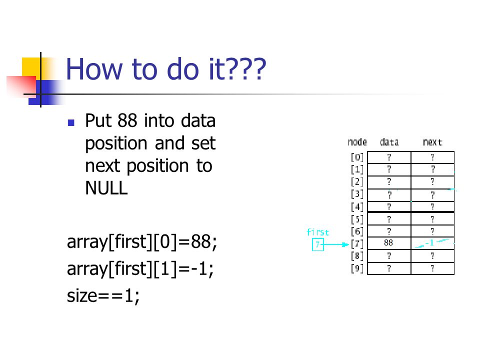 How to do it??? Put 88 into data position and set next position to NULL array[first][0]=88; array[first][1]=-1; size==1;