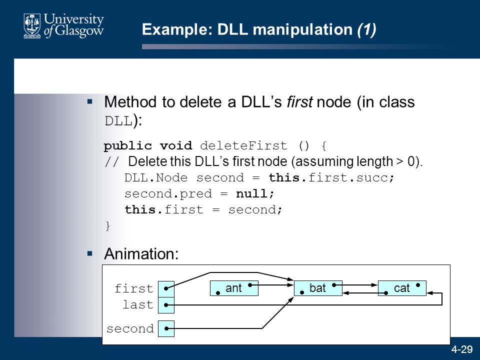 4-29 Example: DLL manipulation (1)  Method to delete a DLL's first node (in class DLL ): public void deleteFirst () { // Delete this DLL's first node (assuming length > 0).