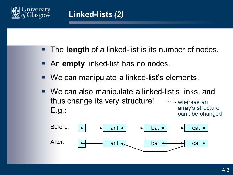 4-3 Linked-lists (2)  The length of a linked-list is its number of nodes.