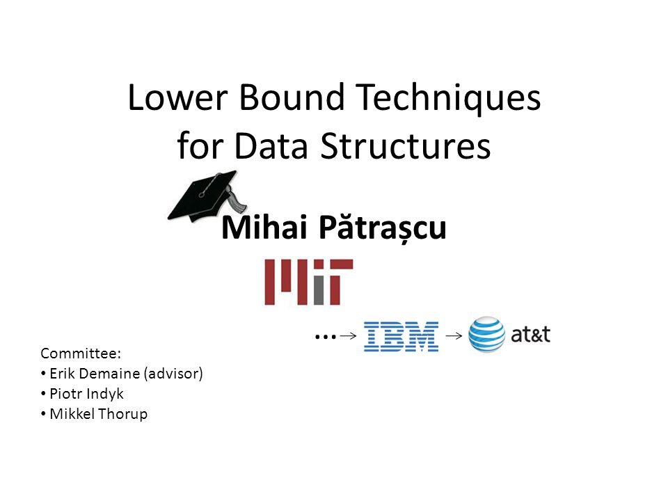 Lower Bound Techniques for Data Structures Mihai P ă trașcu … Committee: Erik Demaine (advisor) Piotr Indyk Mikkel Thorup