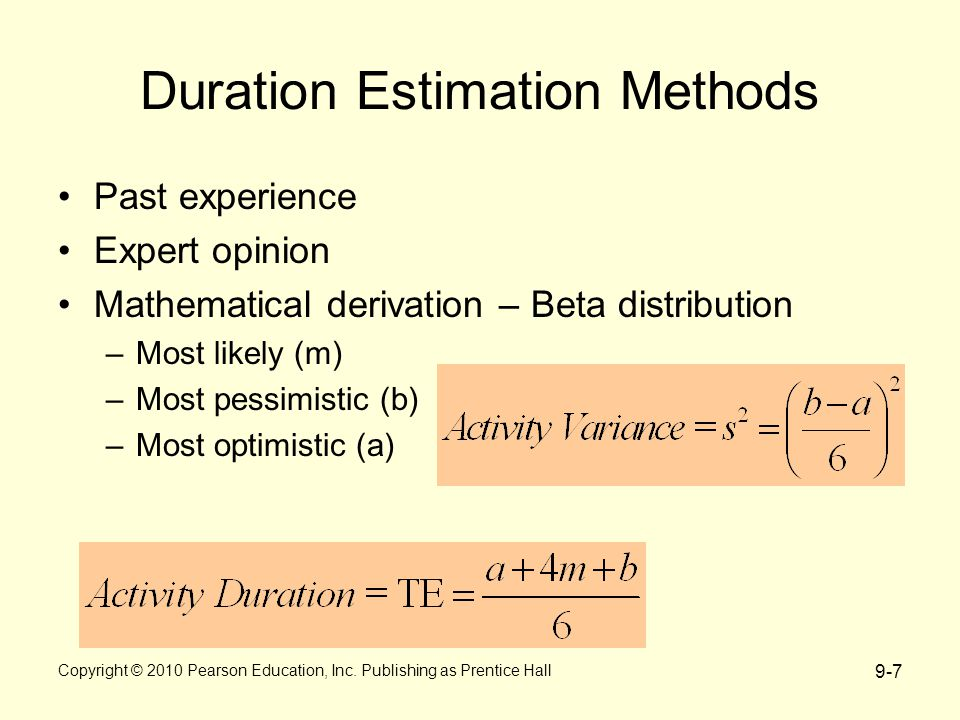 9-7 Duration Estimation Methods Past experience Expert opinion Mathematical derivation – Beta distribution –Most likely (m) –Most pessimistic (b) –Most optimistic (a) Copyright © 2010 Pearson Education, Inc.