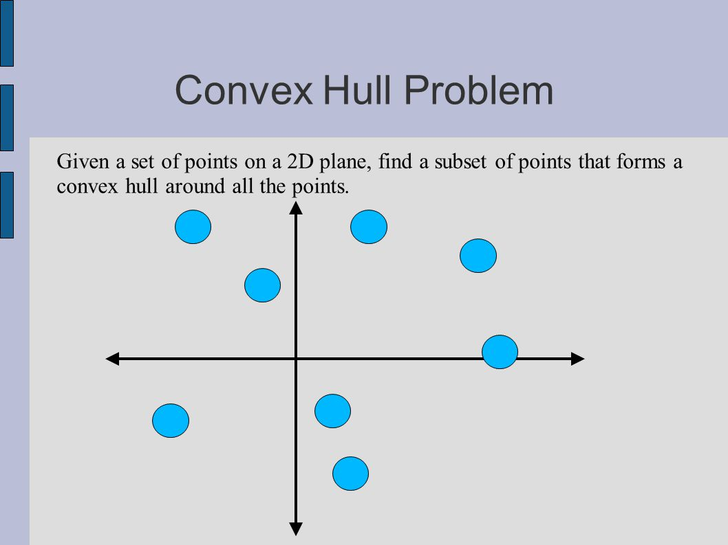 Convex Hull Problem Given a set of points on a 2D plane, find a subset of points that forms a convex hull around all the points.