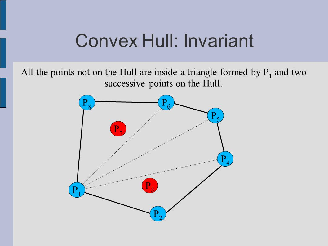 Convex Hull: Invariant P6P6 P2P2 P8P8 P3P3 P5P5 P1P1 P7P7 P4P4 All the points not on the Hull are inside a triangle formed by P 1 and two successive points on the Hull.