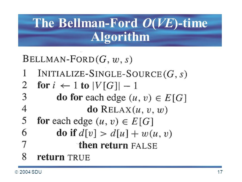  2004 SDU 17 The Bellman-Ford O(VE)-time Algorithm