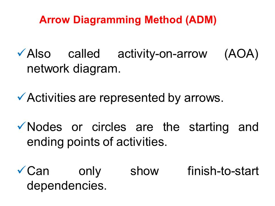 Arrow Diagramming Method (ADM) Also called activity-on-arrow (AOA) network diagram. Activities are represented by arrows. Nodes or circles are the sta