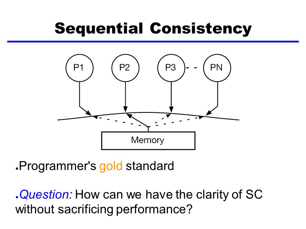 Sequential Consistency ● Programmer s gold standard ● Question: How can we have the clarity of SC without sacrificing performance