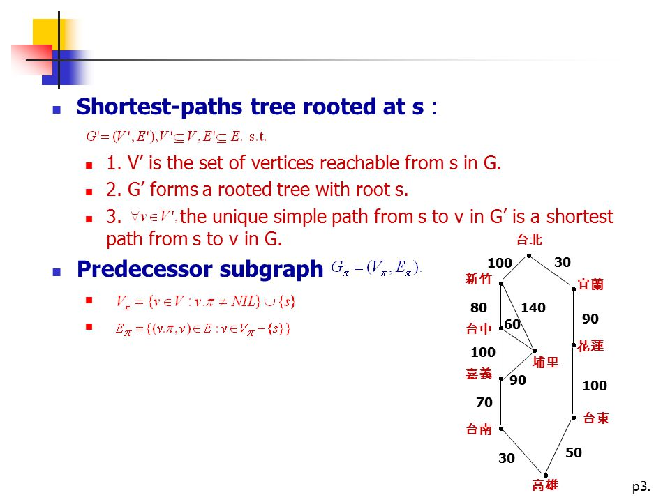 Proofs of shortest-paths properties: Lemma 10 (Triangle inequality) G(V,E) : weighted, directed graph, s: source vertex.