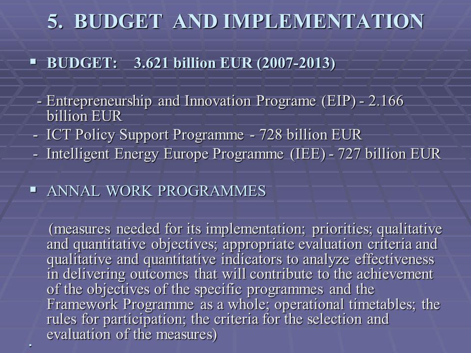 5. BUDGET AND IMPLEMENTATION  BUDGET: 3.621 billion EUR (2007-2013) - Entrepreneurship and Innovation Programe (EIP) - 2.166 billion EUR - Entreprene