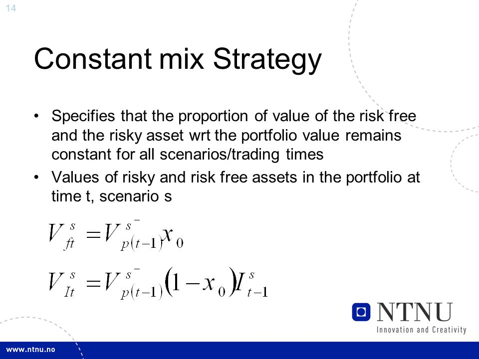 14 Constant mix Strategy Specifies that the proportion of value of the risk free and the risky asset wrt the portfolio value remains constant for all