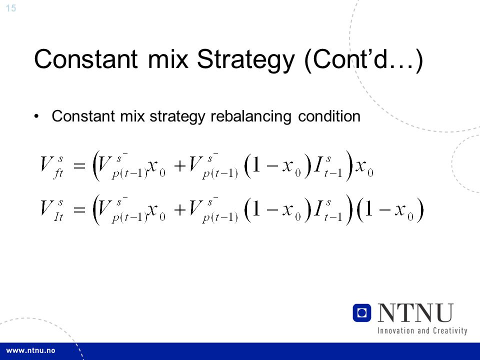 15 Constant mix Strategy (Cont'd…) Constant mix strategy rebalancing condition