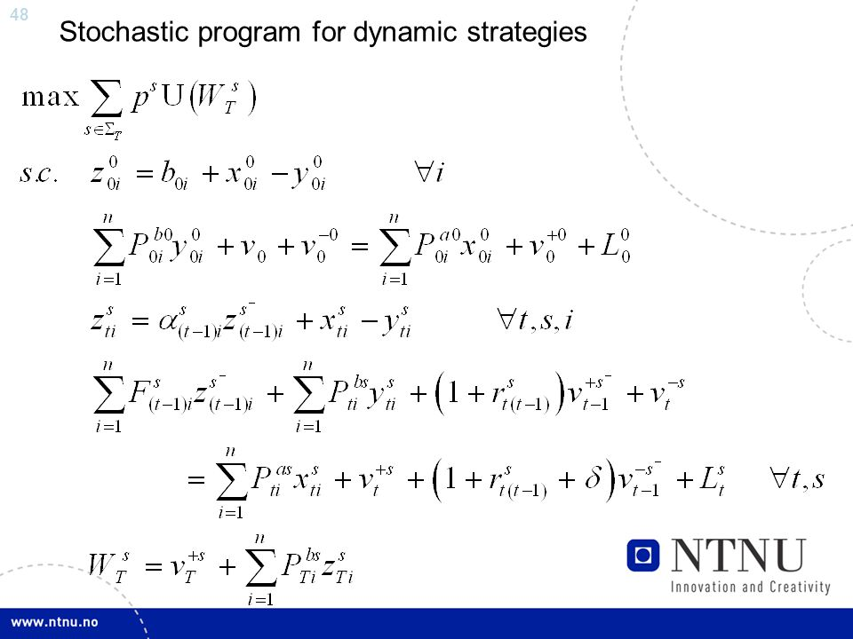 48 Stochastic program for dynamic strategies