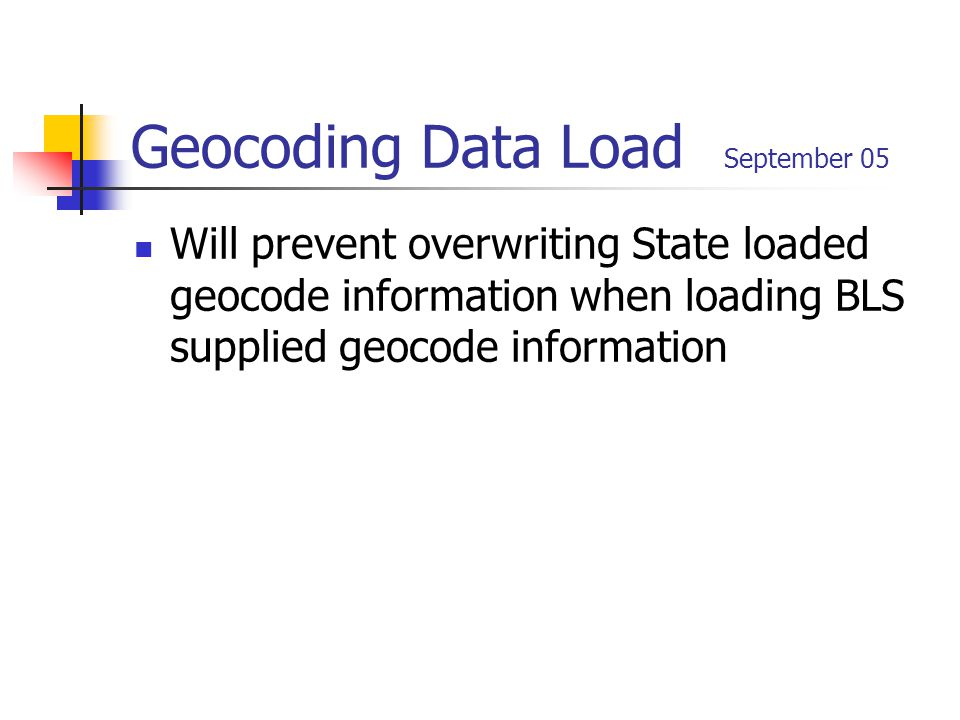 Geocoding Data Load September 05 Will prevent overwriting State loaded geocode information when loading BLS supplied geocode information