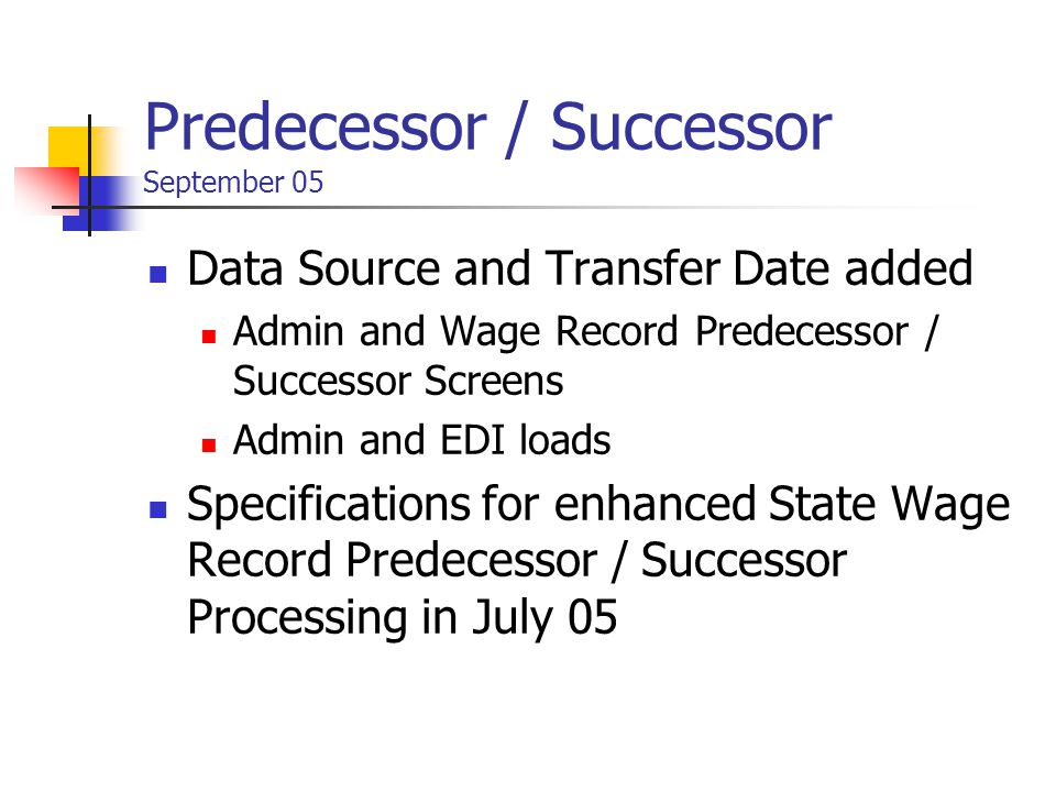 Predecessor / Successor September 05 Data Source and Transfer Date added Admin and Wage Record Predecessor / Successor Screens Admin and EDI loads Specifications for enhanced State Wage Record Predecessor / Successor Processing in July 05