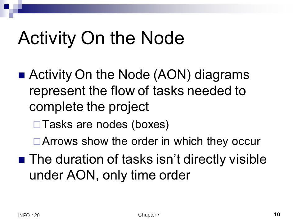Chapter 710 INFO 420 Activity On the Node Activity On the Node (AON) diagrams represent the flow of tasks needed to complete the project  Tasks are n