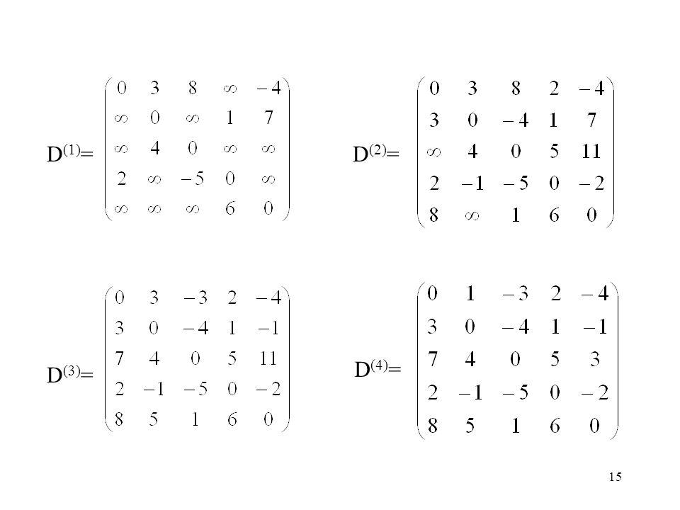 15 D (1) =D (2) = D (3) = D (4) =
