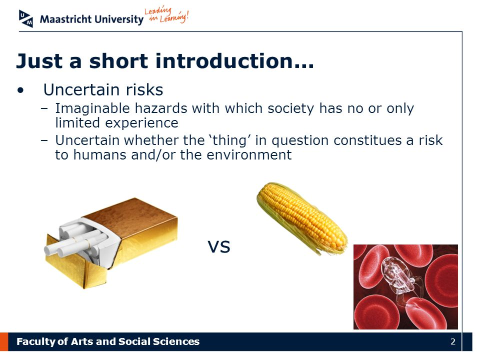 Faculty of Arts and Social Sciences 2 Just a short introduction... Uncertain risks –Imaginable hazards with which society has no or only limited exper