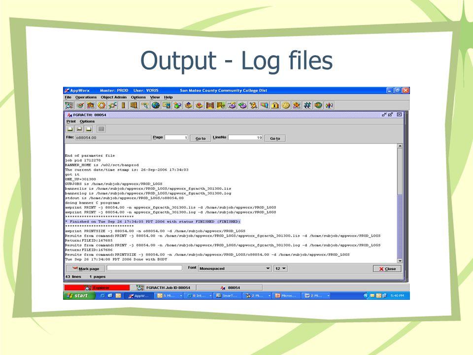 Output - Log files