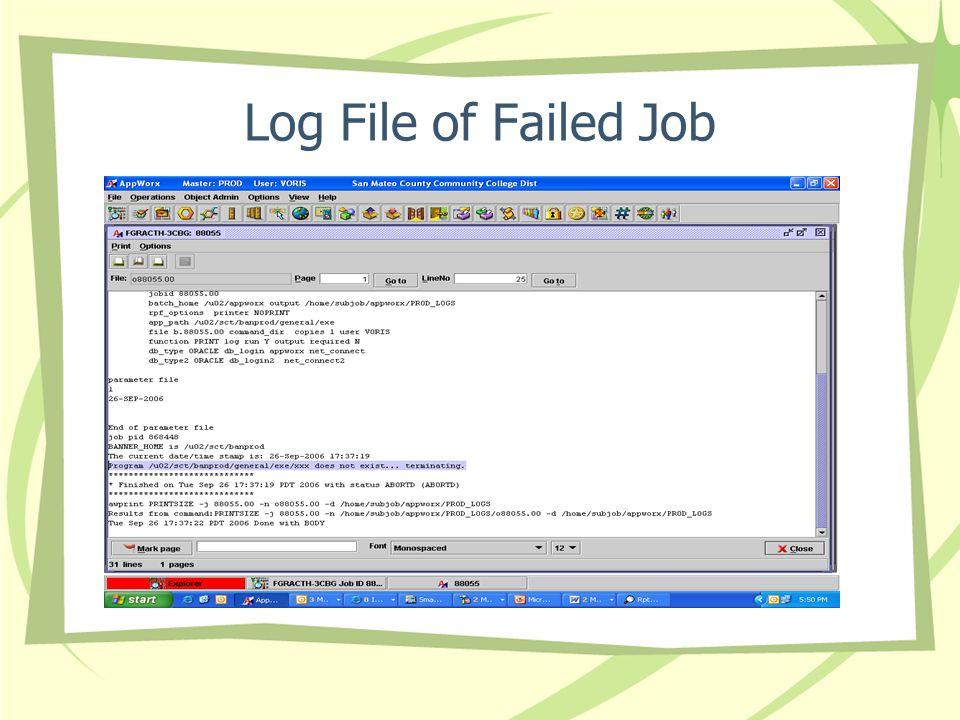 Log File of Failed Job